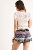 Sierra - Floral Crochet Laced Up Cropped Shirt Top