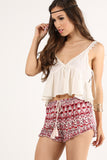 Tiana - Crocheted Trim Buttoned Detail Flared Midriff Top