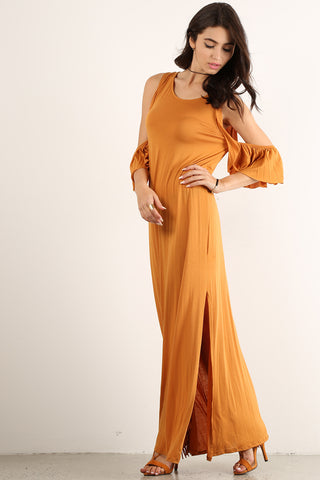 Gertrude - Ruffle Slit Maxi Dress