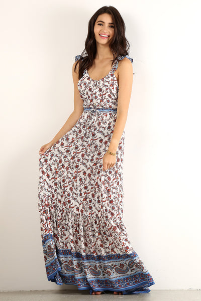 Maxine - Floral Printed Ruffle Strapped Maxi Dress