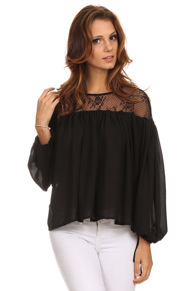 Peasant Blouse with Lace Yoke-2