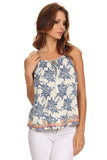 Floral Sketch Print Embroidered Hem Top-2
