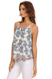 Floral Sketch Print Embroidered Hem Top-3