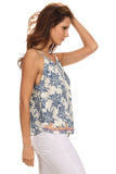 Floral Sketch Print Embroidered Hem Top-4