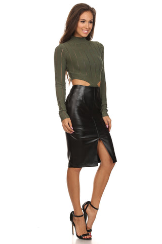 Faux Leather Front Slit Pencil Skirt-8