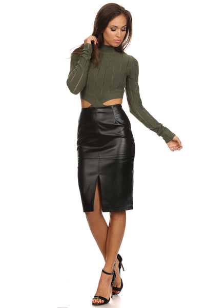 Faux Leather Front Slit Pencil Skirt-6