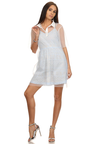 Baby Blue Lace Dress with White Mesh-1