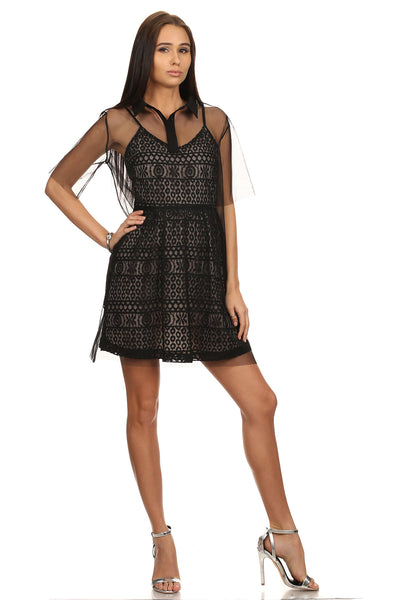 Black & Nude Lace Dress with White Mesh-1