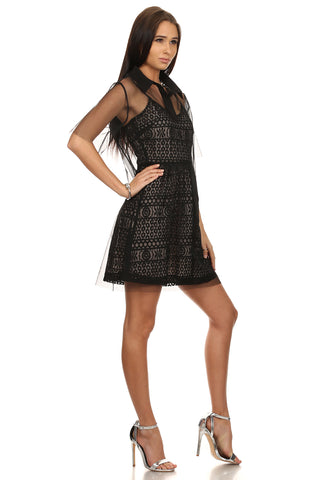 Black & Nude Lace Dress with White Mesh-4