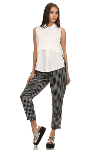 Cropped Tapered Plaid Pants-1