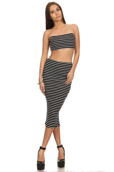 Stripe Pencil Skirt & Tube Top Set-9
