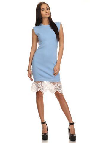 Blue Bodycon Sweater Dress with Lace-1