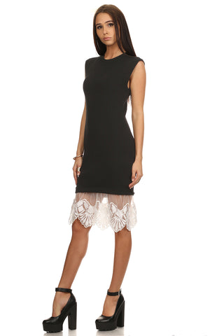 Black Bodycon Sweater Dress with Lace-2
