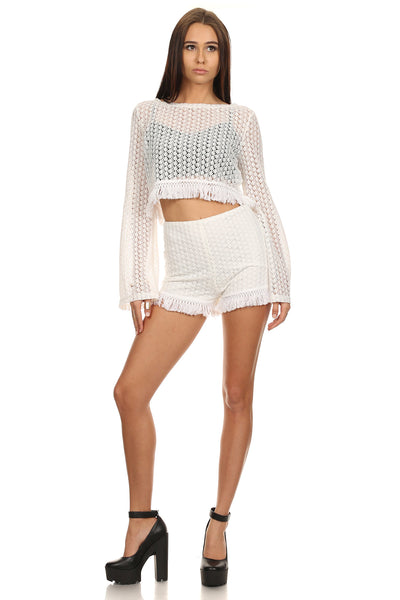 Crochet Crop Top and Shorts Set-1