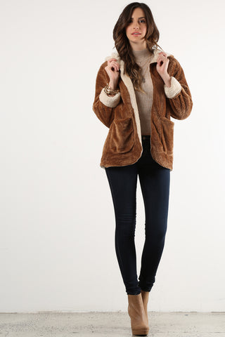 Blenda - Reversible Microsherpa Faux Fur Hoodie Jacket