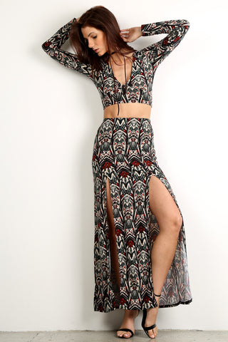 Bianca - Tribal Patterned Crop Top and Maxi Skirt