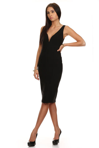 Deep V Bodycon Midi Dress with Full Back Zipper