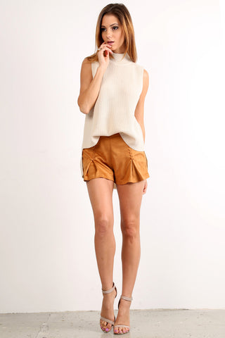 Faux Suede Laced Up Mini Shorts-1