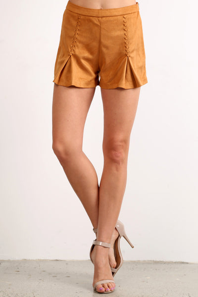 Faux Suede Laced Up Mini Shorts-5