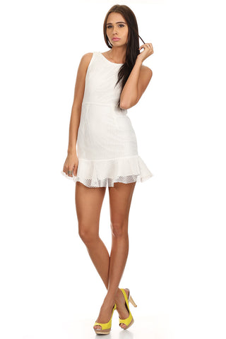 White Peplum Dress-1