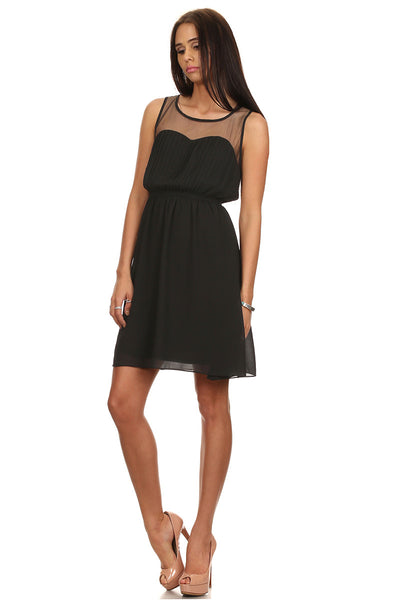 Sleeveless Pleated Dress with Front Mesh and Back Band