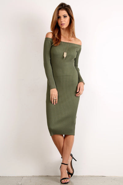 Knit Off Shoulder Midi Dress-2