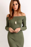 Knit Off Shoulder Midi Dress-5