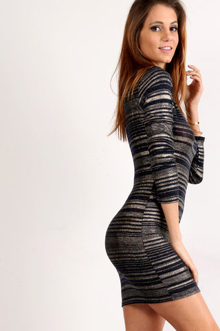 Striped Glittery Bodycon Dress-6