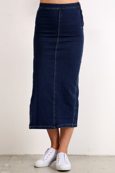 Denim Jean Side Slit Midi Skirt-3