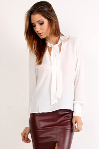 Chiffon Long Sleeve Blouse w Neck Tie-3