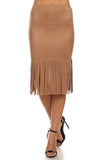 Faux Suede Skirt with Long Fringe-2
