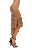 Faux Suede Skirt with Long Fringe-3