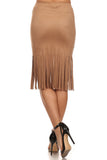 Faux Suede Skirt with Long Fringe-4