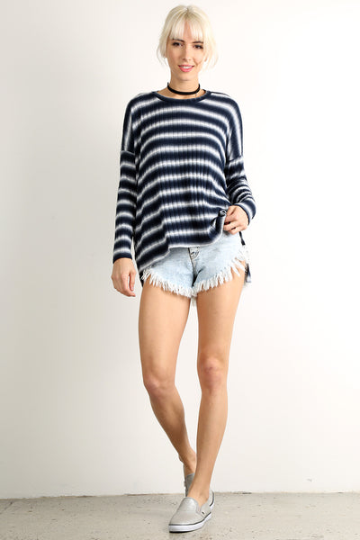 Ombre Ribbed Oversized Long Sleeve Top-1
