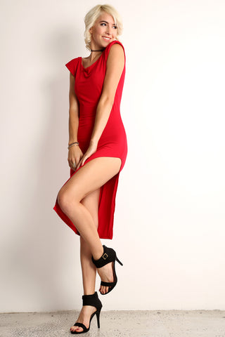 Martha - Padded Shoulder Side Slit Dress