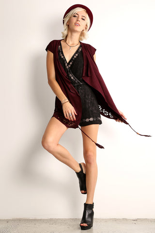 Erica - Laser Cut Wrap Around Vest