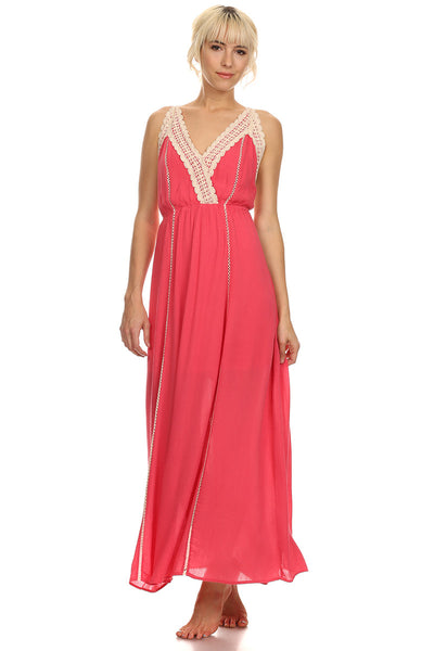Coral Maxi Dress with Crochet Trims-3