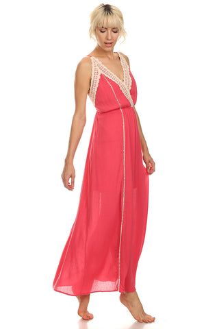 Coral Maxi Dress with Crochet Trims-1