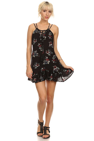 Floral Print Ruffle Hem Dress-1
