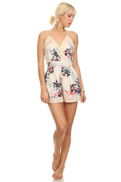Floral Print Romper with Crochet Trim-2