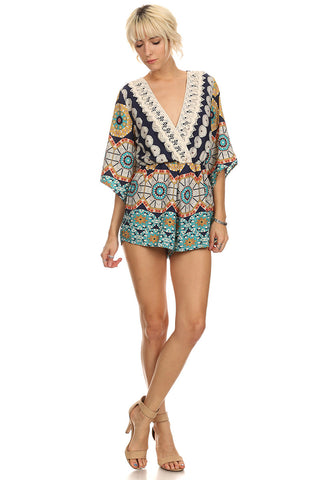 Tribal Abstract Print Romper-1