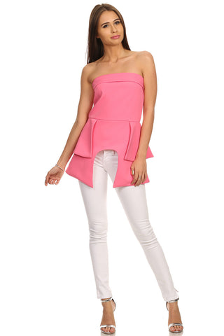 Pink Peplum Tube Top-1