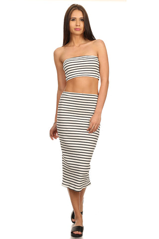 Stripe Pencil Skirt & Tube Top Set-1