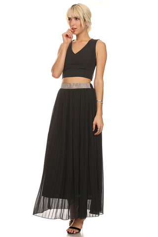 Pleated Maxi Skirt with Rhinestone Waist-1
