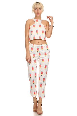 Popsicle Print Cropped Top-1