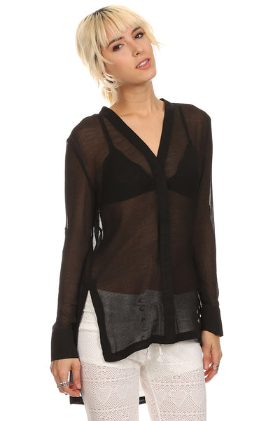 Sheer Long Sleeve Blouse-2