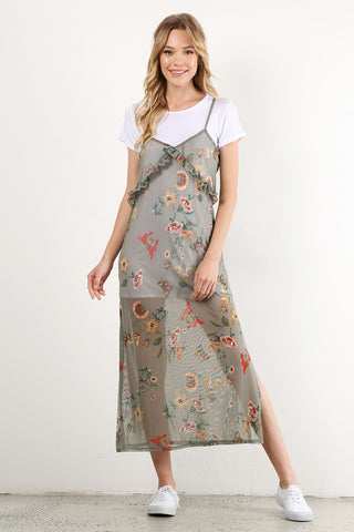 Susan - Floral Print Mesh Twofer Tee Maxi Dress