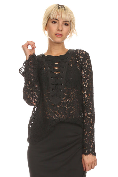 Lace Blouse with Laced Up Bust-2