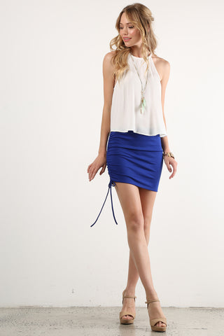 Diana - Side Ruched Tie Mini Skirt
