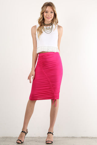 Diana - High Waist Ruched Tie Midi Pencil Skirt